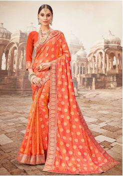 Orange with Gold printed Color Designer Saree
