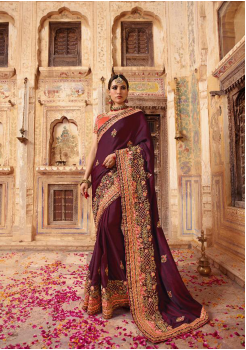 Boysenberry with Orange Color Silk Designer  Saree