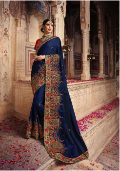 Royal Blue Color Heavy Silk Designer  Saree
