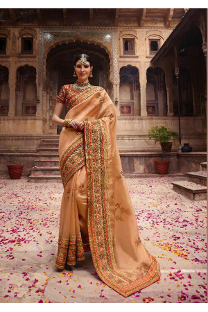 Light Orange Color Heavy Silk Designer  Saree