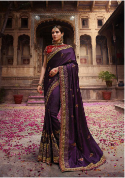 Violet with Red Color Heavy Silk Designer  Saree