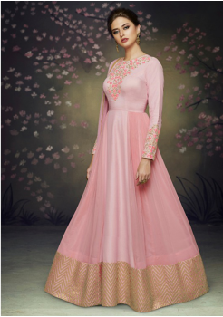 Designer Flamingo Pink Color Silk Party Wear Gown