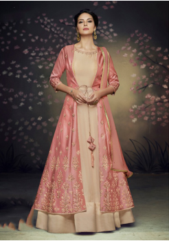 Designer Peach with Punch Color Silk Party Wear Gown