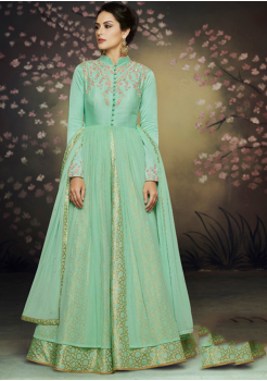 Designer Arctic Blue Color Silk Party Wear Gown