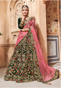 Dark Green with Pink Color Designer Velvet Lehenga Choli