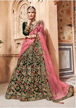 Dark Green with Pink Color Designer Velvet Lehenga Choli
