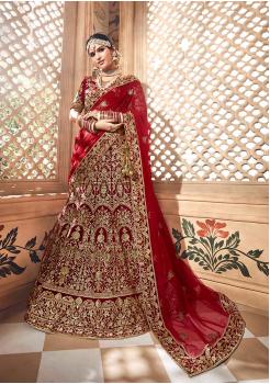 Red Color Designer Velvet Lehenga Choli