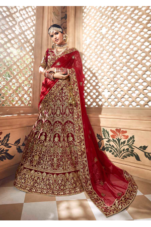 Red Color Designer Velvet Lehenga Choli