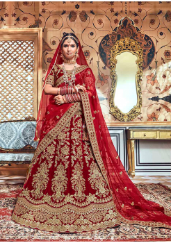 Garnet Red Color Designer Velvet Lehenga Choli