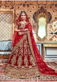 Garnet Red Color Designer Velvet Lehenga Choli