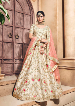 Off White Color Designer Velvet Lehenga Choli