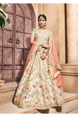 Off White Color Designer Velvet Lehenga Choli