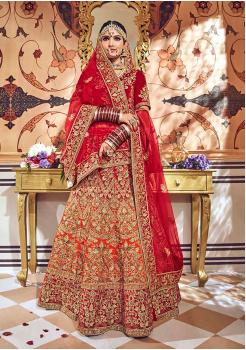 Red with Orange Color Designer Velvet Lehenga Choli