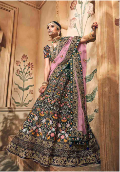 Denim Blue with Pink Color Designer Velvet Lehenga Choli