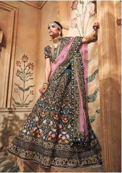 Denim Blue with Pink Color Designer Velvet Lehenga Choli
