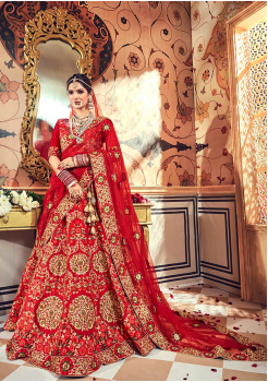 Crimson Red Color Designer Velvet Lehenga Choli