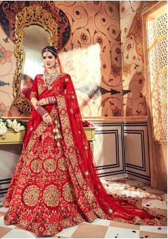 Crimson Red Color Designer Velvet Lehenga Choli