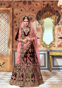 Brown with Light Pink Color Designer Velvet Lehenga Choli