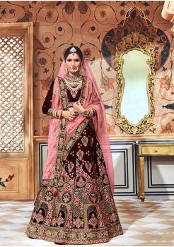 Brown with Light Pink Color Designer Velvet Lehenga Choli