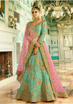 Cyan Color Designer Silk Lehenga Choli