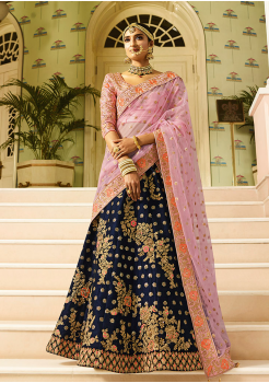 Pink with Blue Color Designer Velvet Lehenga Choli