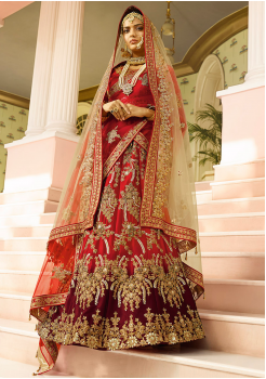 Red with Brown Color Designer Satin Lehenga Choli
