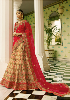 Red with Cream Color Designer Satin Lehenga Choli