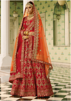 Red with Orange Color Designer Velvet Lehenga Choli