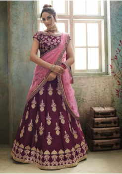 Wine with Light Pink Color Designer Satin Silk Lehenga Choli