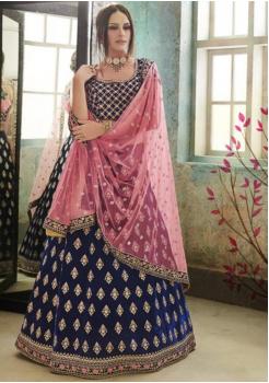 Indigo Blue Color Designer Satin Silk Lehenga Choli