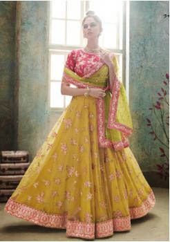 Yellow with Green Color Designer Satin Silk Lehenga Choli