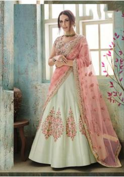 Alice Blue with Pink Color Designer Satin Silk Lehenga Choli