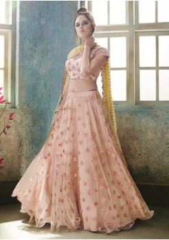 Flamingo Pink with Gold Color Designer Satin Silk Lehenga Choli