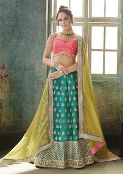Green with Pink Color Designer Satin Silk Lehenga Choli