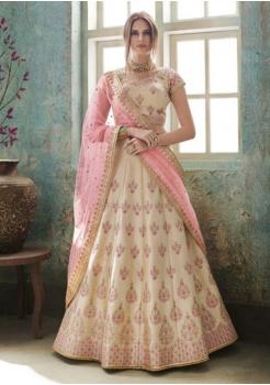 Cream with Pink Color Designer Satin Silk Lehenga Choli