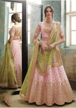 Flamingo Pink with Green Color Designer Satin Silk Lehenga Choli