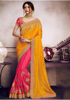 Sandalwood yellow with Pink Color Designer Saree