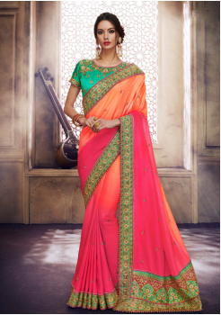 Orange Pink with Green Color Designer Saree