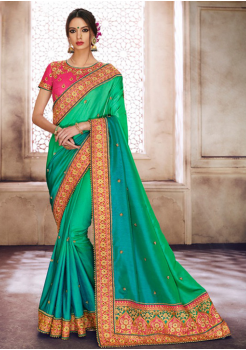 Peacock Green with Blue Color Designer Saree
