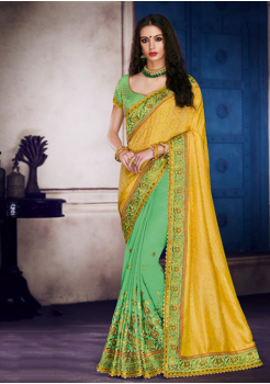 Yellow with Fern Color Designer Saree