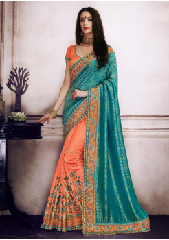 Sky Blue with Orange Color Designer Saree