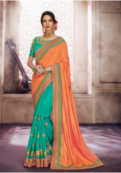 Orange with Half Green Color Designer Saree