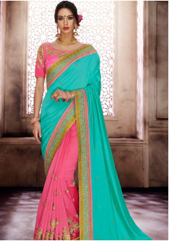 Sky Blue with Light Pink Color Designer Saree