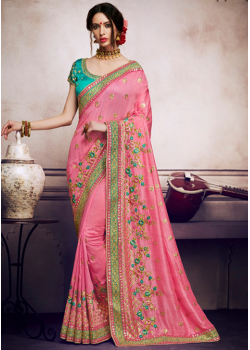 Baby Pink Color Designer Saree