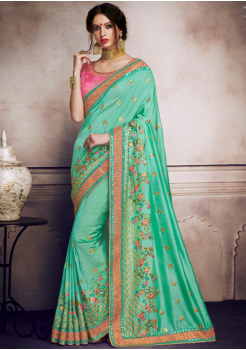 Cyan Color Designer Saree