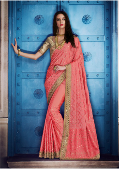 Coral Color Designer Saree