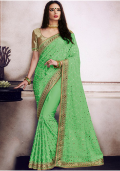 Green with Golden Color Designer Saree