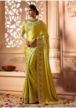 Corn Yellow Color Designer Silk  Saree