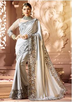 White Color Designer Silk  Saree