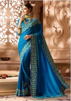 Azure Color Designer Silk  Saree
